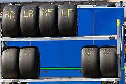 ROSEVILLE, CA - OCTOBER 13: General view of race tires on a rack in the garage area during practice for the NASCAR K&N Pro Series West Toyota/NAPA 150 at the All American Speedway on October 13, 2012 in Roseville, California. (Photo by Jason O. Watson/Getty Images for NASCAR) *** Local Caption ***