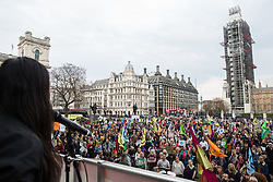 London, UK. 1st May, 2019. Ash Sarkar of Novara Media addresses climate protesters attending a Declare A Climate Emergency Now demonstration in Parliament Square organised to coincide with a motion in the House of Commons to declare an environment and climate emergency tabled by Leader of the Opposition Jeremy Corbyn. The motion, which does not legally compel the Government to act, was passed without a vote.
