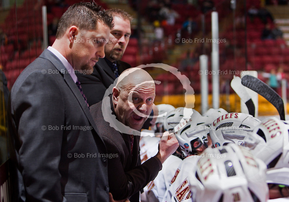 04 October  2011: Chiefs Assistant Coach Doug Ast, Chiefs Head Coach & General Manager Harvey Smyl , Chiefs Assistant Coach Brandon Fleenor   during a game between the Chilliwack Chiefs and the Prince George Spruce Kings.  Prospera Centre, Chilliwack, BC.    Final Score: Chilliwack 4  Prince George 3   ****(Photo by Bob Frid/Freemotionphotography.ca) All Rights Reserved : cell 778-834-2455 : email: bob.frid@shaw.ca ****