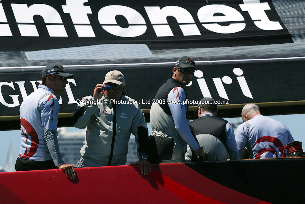 15 February 2003, Americas cup, Hauraki Gulf, Auckland, New Zealand. Alinghi (SUI 64) vs Team New Zealand (NZL 82)<br />