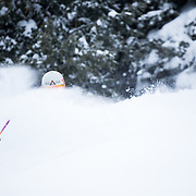 Tanner Flannagan skis in-bounds powder at Jackson Hole Mountain Resort.