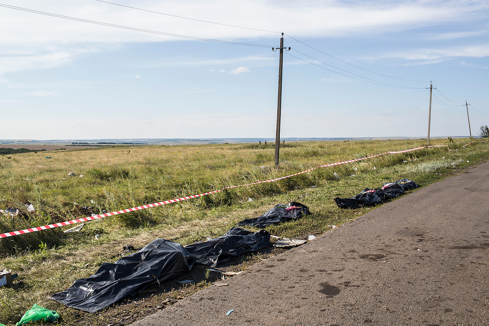 GRABOVO, UKRAINE - JULY 20: The bodies of victims of the crash of Malaysia Airlines flight MH17 await collection by the side of the road near the crash site on July 20, 2014 in Grabovo, Ukraine. Malaysia Airlines flight MH17 was travelling from Amsterdam to Kuala Lumpur when it crashed killing all 298 on board including 80 children. The aircraft was allegedly shot down by a missile and investigations continue over the perpetrators of the attack. (Photo by Brendan Hoffman/Getty Images) *** Local Caption ***