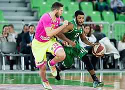 Djordje Simeunovic of Mega Leks vs Brandon Jefferson #13 of KK Union Olimpija during basketball match between KK Union Olimpija Ljubljana and KK mega Leks in 14th Round of ABA League 2016/17, on December 18, 2016 in Arena Stozice, Ljubljana, Slovenia. Photo by Vid Ponikvar / Sportida