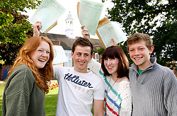 © Licensed to London News Pictures.23/08/2012.Solihull, West Midlands. Pupils celebrating their GCSE results at Solihull School. Pictured.(40) Forty A Stars between them, from left, Maddie Lavery, Tom Griesbach, Alanna Wall, Nick Hooper, all 16. Photo credit : Dave Warren/LNP