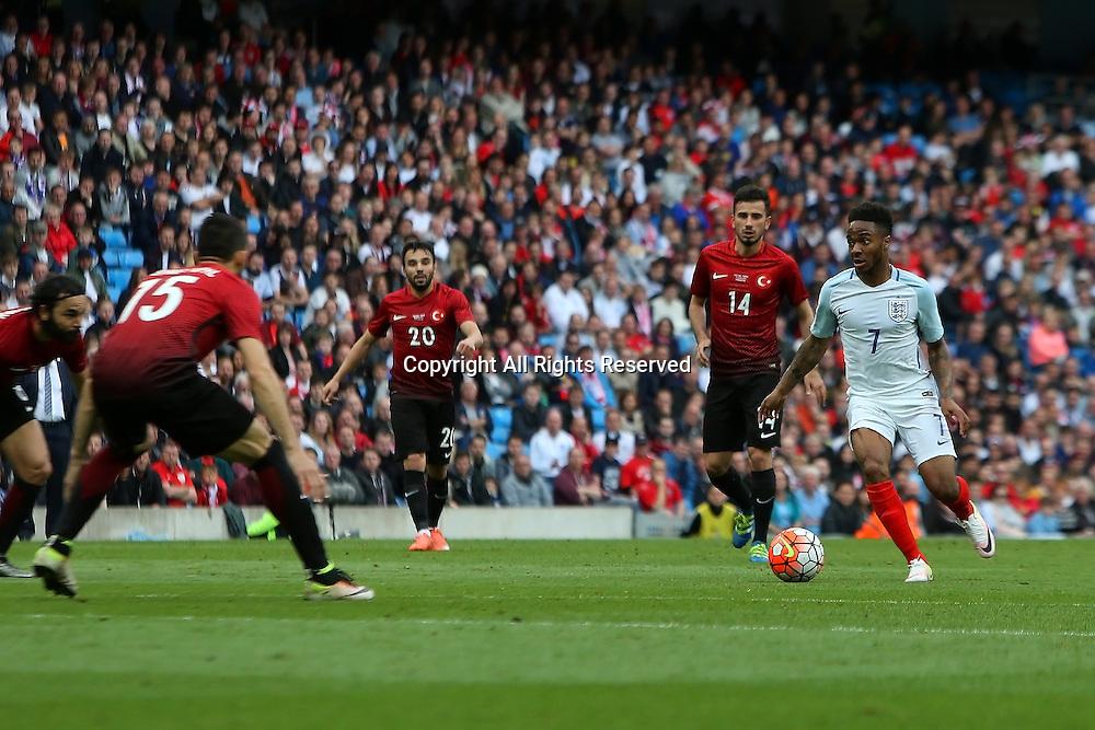 22.05.2016. Etihad Stadium, Manchester, England. International football friendly match, England versus Turkey. Raheem Sterling of England runs at the Turkey defence.