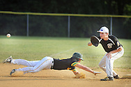 Bensalem first baseman Joe Pizzo (right) awaits a throw as Newtown's Jason Walters dives back to first base during a pickoff attempt in the second inning Monday June 20, 2016 at Valley Athletic Association in Bensalem, Pennsylvania. Newtown defeated Bensalem 6-5. (Photo by William Thomas Cain)