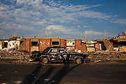 The aftermath of the Joplin tornado in Joplin, Missouri, on June 24, 2011. The tornado was a catastrophic EF5 multiple-vortex tornado on Sunday, May 22, 2011. The storm killed 158 people and resulted in $2.8 billion dollars in damage.
