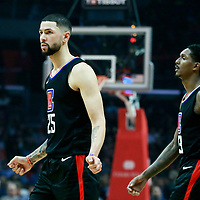 30 November 2017: LA Clippers guard Austin Rivers (25) is seen next to LA Clippers guard Lou Williams (23) during the Utah Jazz 126-107 victory over the LA Clippers, at the Staples Center, Los Angeles, California, USA.