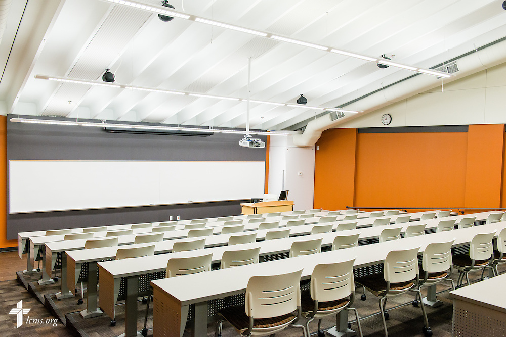 A photograph of a lecture hall in the renovated science building at Concordia University Ann Arbor on Thursday, July 3, 2014, in Ann Arbor, Mich. LCMS Communications/Erik M. Lunsford