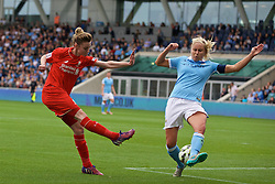 MANCHESTER, ENGLAND - Sunday, August 30, 2015: Liverpool's Hannah Dale and Manchester City's Steph Houghton during the League Cup Group 2 match at the Academy Stadium. (Pic by Paul Currie/Propaganda)