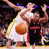 08 December 2013: Toronto Raptors point guard Kyle Lowry (7) falls during the Toronto Raptors 106-94 victory over the Los Angeles Lakers at the Staples Center, Los Angeles, California, USA.