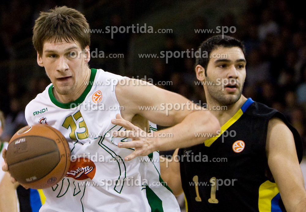 Gasper Vidmar (13) of Olimpija and Dimitrios Mavroeidis of Maroussi  at Euroleague basketball match of Group C between KK Union Olimpija, Ljubljana and Maroussi B.C., Athens, on October 29, 2009, in Arena Tivoli, Ljubljana, Slovenia. Olimpija lost 75:81.  (Photo by Vid Ponikvar / Sportida)