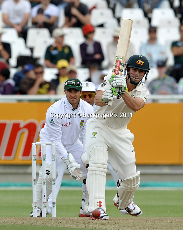 Shaun Marsh of Australia. South Africa v Australia, first test, day 1, Newlands, South Africa. 9 November 2011.<br /> <br /> &copy;Ryan Wilkisky/BackpagePix