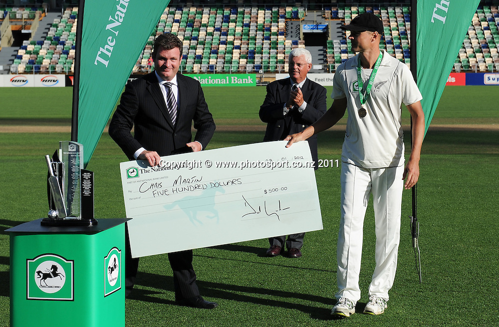 National Bank's David Graham and Chris Martin, man of the match at the post match presentation on day 3 of the first cricket test, New Zealand v Zimbabwe at McLean Park. Saturday 28 January 2012. Napier, New Zealand. Photo: Andrew Cornaga/Photosport.co.nz
