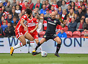 Aston Villa defender Alan Hutton (21) battles with Middlesbrough defender Ryan Shotton (5) during the EFL Sky Bet Championship match between Middlesbrough and Aston Villa at the Riverside Stadium, Middlesbrough, England on 12 May 2018. Picture by Jon Hobley.