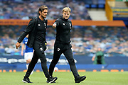 Bournemouth Assistant Manager Jason Tindall and Bournemouth Manager Eddie Howe head for the dressing room at half-time   during the Premier League match between Everton and Bournemouth at Goodison Park, Liverpool, England on 26 July 2020.