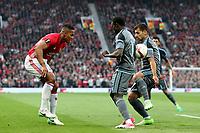 Football - 2016 / 2017 UEFA Europa League - Semi-Final, Second Leg: Manchester United [1] vs. Celta Vigo [0]<br /> <br /> Luis Antonio Valencia of Manchester United competes with Pione Sisto and Jonny Otto of Celta De Vigo<br /> <br /> COLORSPORT/LYNNE CAMERON