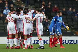 The Milton Keynes Dons players celebrate together after Chuks Aneke had scored the opening goal of the game - Mandatory by-line: Joe Dent/JMP - 30/12/2017 - FOOTBALL - Stadium MK - Milton Keynes, England - Milton Keynes Dons v Peterborough United - Sky Bet League One