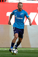 MOSCOW, RUSSIA - MAY 05: Igor Smolnikov of FC Zenit Saint Petersburg in action during the Russian Football League match between FC Lokomotiv Moscow and FC Zenit Saint Petersburg at RZD Arena on May 5, 2018 in Moscow, Russia.