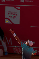 May 3, 2018 - Estoril, Portugal - Kevin Anderson of South Africa serves a ball to Stefanos Tsitsipas of Greece during the Millennium Estoril Open ATP 250 tennis tournament, at the Clube de Tenis do Estoril in Estoril, Portugal on May 3, 2018. (Credit Image: © Pedro Fiuza/NurPhoto via ZUMA Press)