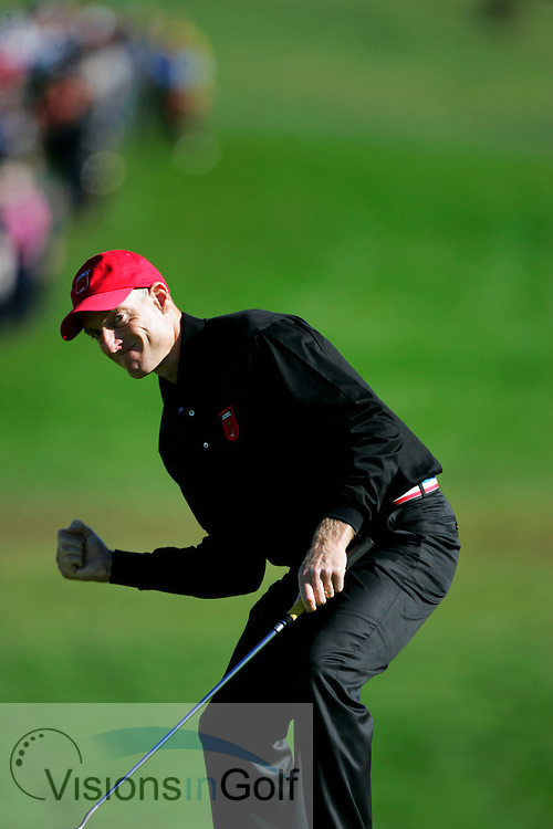 Jim Furyk at delayed final day Monday singles at the Ryder Cup Matches 2010, Celtic Manor, Wales<br /> Picture Credit: Mark Newcombe / visionsingolf.com