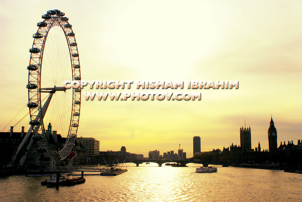 London eye, Houses of Parliament and Big Ben, London, England