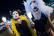 November 10, 2008 -- PHOENIX, AZ:  Members of the Sister of Perpetual Indulgence at a candle light vigil for gay rights in Phoenix Monday. About 250 people attended a candle light vigil in support of gay rights and gay marriage in Phoenix, AZ, Monday night. The rally, like similar ones in Los Angeles and Salt Lake City, were in response to anti-gay marriage and anti-gay rights initiatives that were passed by the voters in Arizona, California and Florida. The anti-gay initiatives in Arizona and California were funded by conservative churches, including the Church of Latter Day Saints (Mormons). Photo by Jack Kurtz / ZUMA Press