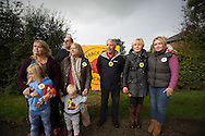 Anti-fracking campaigners gather in the village of Wharles, close to the proposed site at Roseacre Wood, Lancashire where fracking firm Cuadrilla has been given permission to undertake construction and testing for shale gas extraction. On 6th October, 2016 UK Government's Communities secretary, Sajid Javid, accepted an appeal from Cuadrilla against an earlier decision to turn down their plans to frack on sites on the Fylde coast.