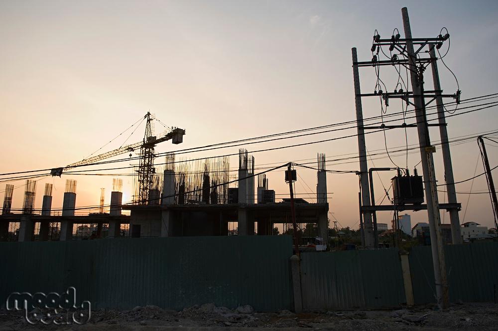 Building Construction Site at Dusk