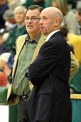 25 November 2014:  Ron Rose and Brian Miller during an NCAA mens division 3 CCIW basketball game between the Milwaukee School of Engineering Raiders and the Illinois Wesleyan Titans in Shirk Center, Bloomington IL