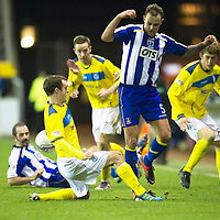 Kilmarnock v St Johnstone..24.11.12      SPL<br /> David Robertson tackles Ryan O'Leary<br /> Picture by Graeme Hart.<br /> Copyright Perthshire Picture Agency<br /> Tel: 01738 623350  Mobile: 07990 594431