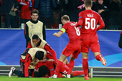 October 18, 2017 - Moscow, Russia - October 17, 2017. Russia, Moscow, Otkritie Arena Stadium. Spartak's players celebrate scoring a goal in the 2017/18 UEFA Champions League's group stage match between Spartak (Moscow, Russia) and Sevilla FC  (Credit Image: © Russian Look via ZUMA Wire)