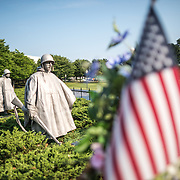 Korean War Veterans Memorial in Washingotn DC. The slightly larger than life statues of American soldiers that make up The Column, designed by Frank Gaylord, that forms the centerpiece of the monument.