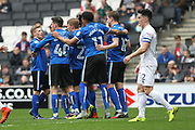 GOAL Steven Davies (19) celebrates with team mates 0-1 during the EFL Sky Bet League 1 match between Milton Keynes Dons and Rochdale at stadium:mk, Milton Keynes, England on 11 March 2017. Photo by Daniel Youngs.