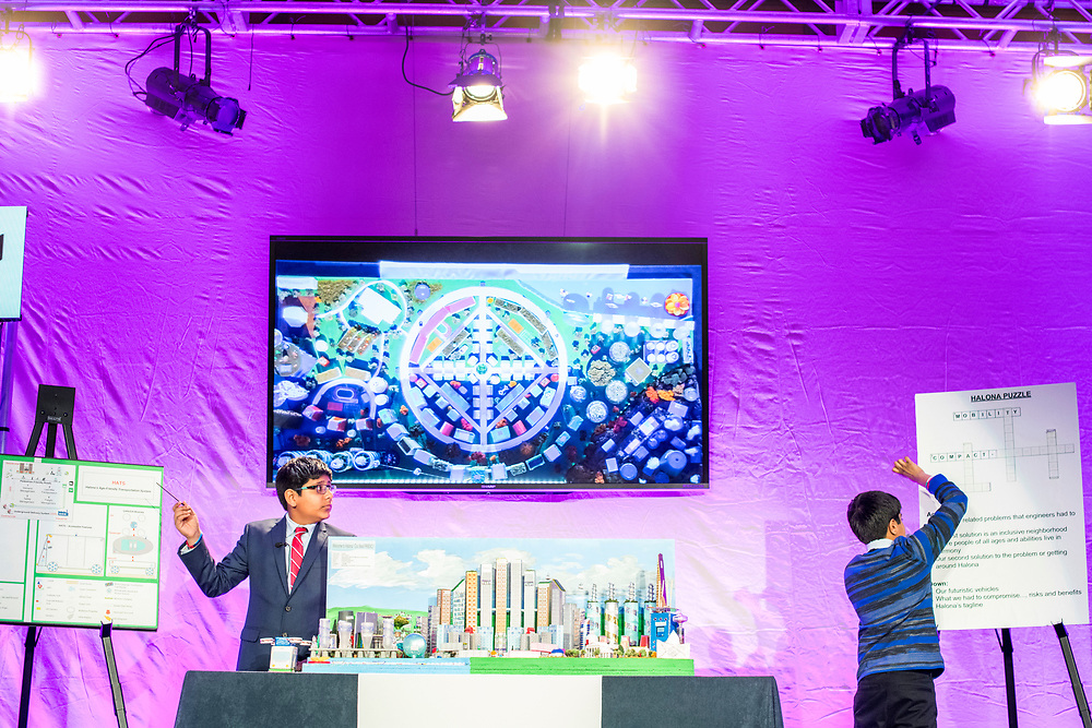Washington, D.C. - February 20, 2018: Future City Competition Mid Atlantic team members Vinay Ayala, left, and Nikhil Kuntipuram, 7th and 6th graders, respectively, from the Edlin School in Restin, Va., show off their team's city &quot;Halona&quot; to the judges during the Future City Competition Finals at the Hyatt Regency Washington on Capitol Hill in Washington, D.C., Tuesday, Feb. 20, 2018.<br /> <br /> The Mid Atlantic team won first place.<br /> <br /> CREDIT: Matt Roth