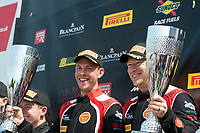 Graham Johnson (GBR) / Mike Robinson (GBR)  #50 PMW Expo Racing/Optimum Motorsport  Ginetta G55 GT3  Ford Cyclone 3.7L V6 on the podium in first place in GT4 class of race one for the British GT Championship at Oulton Park, Little Budworth, Cheshire, United Kingdom. May 30 2016. World Copyright Peter Taylor/PSP.
