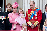 Trooping the Colour is a ceremony performed by regiments of the British and Commonwealth armies and as also marked the official birthday of the British sovereign, Queen Elizabeth.It is held in London annually on a Saturday in June on Horse Guards Parade by St. James's Park<br /> <br /> On the photo:  Prince William, Catherine, Kate, Duchess of Cambridge and Prince George and Princess Charlotte and Prince Harry