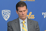 Nov 15, 2017; Los Angeles, CA, USA; UCLA Bruins coach Steve Alford reacts during a press conference at Pauley Pavilion regarding arrest of freshman players Jalen Hill, LiAngelo Ball and Cody Riley (not pictured) in China for shoplifting.