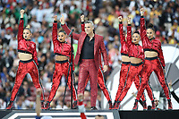 Football - 2018 FIFA World Cup - Group A: Russia vs. Saudi Arabia<br /> <br /> Robbie Williams performs prior to the match at the Luzhniki Stadium, Moscow.<br /> <br /> COLORSPORT/IAN MACNICOL