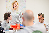 (L-R) Abigail Konig, Talitha Elbert, and Robert Mencik share stories during the 2014 Youth Corps pilot project debrief following a Gospel Seeds session at Shepherd of the City Lutheran Church on Tuesday, August 12, 2014, in Philadelphia, Pa. LCMS Communications/Erik M. Lunsford