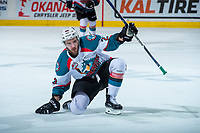 KELOWNA, CANADA - APRIL 14: Reid Gardiner #23 of the Kelowna Rockets celebrates his third goal and the hat trick against the Portland Winterhawkson April 14, 2017 at Prospera Place in Kelowna, British Columbia, Canada.  (Photo by Marissa Baecker/Shoot the Breeze)  *** Local Caption ***