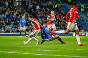 Ryan Jack of Rangers is pulled to the ground by Tom Taiwo of Hamilton Academical FC during the Ladbrokes Scottish Premiership match between Rangers and Hamilton Academical FC at Ibrox, Glasgow, Scotland on 16 December 2018.