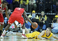 January 07, 2011: Ohio State Buckeyes guard Shannon Scott (3) and Iowa Hawkeyes guard Matt Gatens (5) battle for a lose ball during the the NCAA basketball game between the Ohio State Buckeyes and the Iowa Hawkeyes at Carver-Hawkeye Arena in Iowa City, Iowa on Saturday, January 7, 2012.