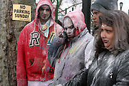 Indians celebrate the Spring holiday of Holi, by throwing colored powders and spraying colored water on each other to chase away the gray of winter.  The festival took place on Liberty Ave, and most of the powder was thrown in Smoky Oval Park in Richmond Hill Queens...Photo by Nancy Siesel