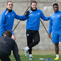 St Johnstone Training....11.04.14<br /> Lee Croft, Stevie May and Nigel Hasselbaink during training this morning ahead of Sunday's Scottish Cup semi-fnal against Aberdeen.<br /> Picture by Graeme Hart.<br /> Copyright Perthshire Picture Agency<br /> Tel: 01738 623350  Mobile: 07990 594431