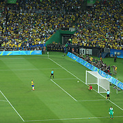 Football - Olympics: Day 15  Luan #7 of Brazil scores from the penalty spot during the penalty shoot out beating Timo Horn #1 of Germany during the Brazil Vs Germany Men's Football Gold Medal Match at Maracana on August 20, 2016 in Rio de Janeiro, Brazil. (Photo by Tim Clayton/Corbis via Getty Images)