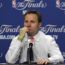 Jun 19, 2012; Miami, FL, USA; Oklahoma City Thunder head coach Scott Brooks talks to the media during the post game press conference after game four in the 2012 NBA Finals at the American Airlines Arena. Miami won 104-98. Mandatory Credit: Derick E. Hingle-US PRESSWIRE