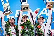 Sebastien Buemi, Kazuki Nakajima, Fernando Alonso<br /> TOYOTA GAZOO  Racing. <br /> Le Mans 24 Hours Race, 11th to 17th June 2018<br /> Circuit de la Sarthe, Le Mans, France.