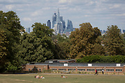 Women sunbathe on the grass outside Brockwell Lido with the City of London's financial skyline in the distance, in Brockwell Park, on 8th August 2018, in London, England.