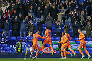 GOAL 1-1 Cardiff City forward Lee Tomlin (17) scores and celebrates in front of the away, travelling, Cardiff City fans, during the EFL Sky Bet Championship match between Birmingham City and Cardiff City at the Trillion Trophy Stadium, Birmingham, England on 18 January 2020.